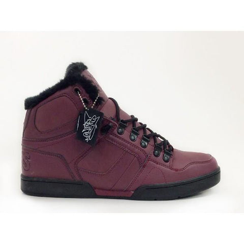Osiris NYC 83 Shearling Mens Winter High Top Shoe Burgundy |Sneakers Plus