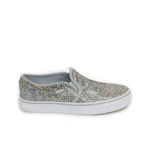Vans Asher Slip On Womens Skate Shoe Glitter |Sneakers Plus