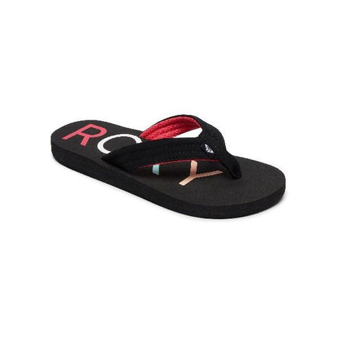 Roxy Vista Kids Flip Flops Black-Pink |Sneakers Plus