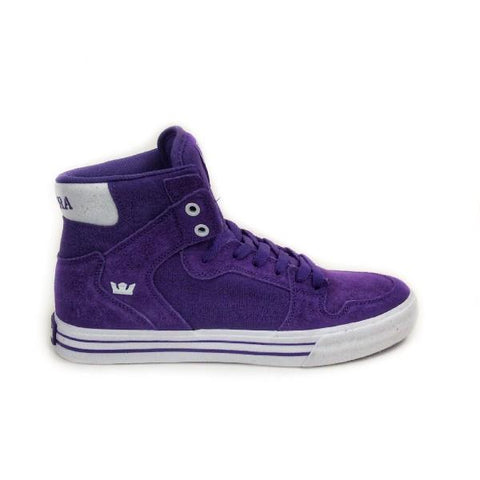 Supra Vaider Mens High Top Skate Shoe Purple-White |Sneakers Plus