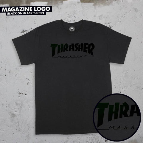 Thrasher Magazine Logo T shirt Mens Tee Black-Black | Sneakers Plus