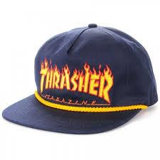Thrasher Flame Rope SnapBack Mens Hats Navy | Sneakers Plus