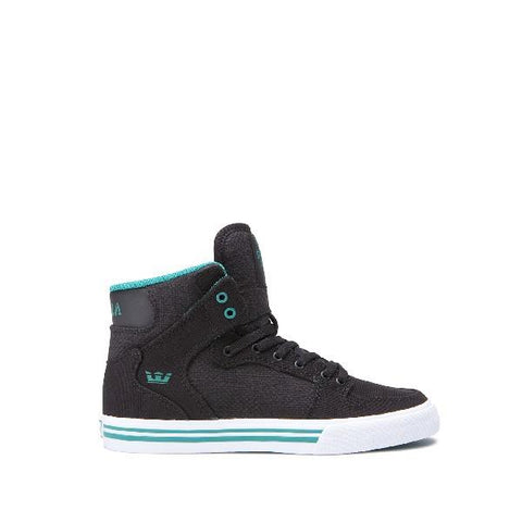 Supra Vaider Kids High Top Shoes Black-Teal | Sneakers Plus