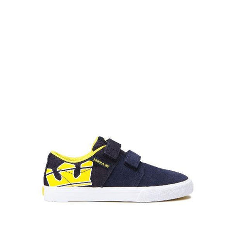 Supra Stacks ll Toddler Velcro Shoes Navy-Yellow | Sneakers Plus