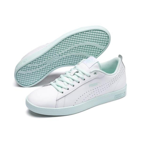 Puma Smash v2 Womens Shoe White-Aqua | Sneakers Plus