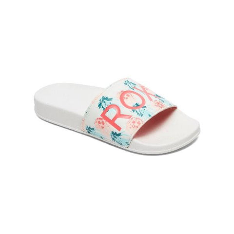 Roxy Slippy Girls Slider Sandals White-Orange | Sneakers Plus