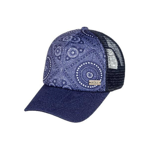 Roxy Water Come Down Womens Trucker Hat Blue Paisley | Sneakers Plus