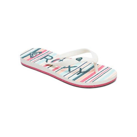 Roxy Girls Tahiti Flip Flops White-Stripe | Sneakers Plus