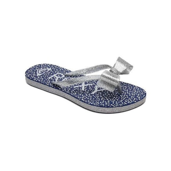 Roxy Girls Lulu Flip Flops Navy-Silver | Sneakers Plus