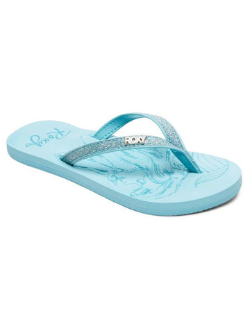 Roxy Disney Girls Napili Flip Flops Light Blue | Sneakers Plus