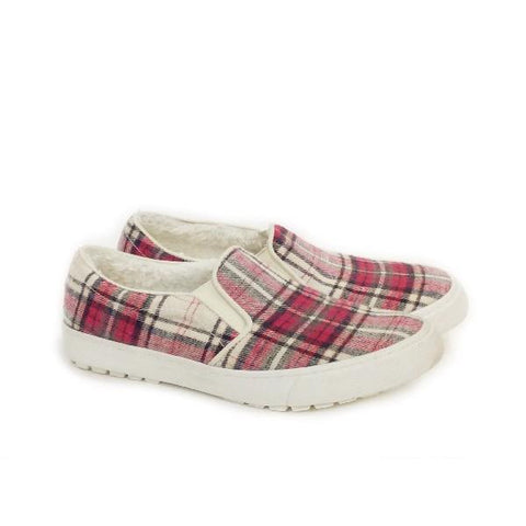 Roxy Juno Fur Womens Casual Shoe Red/White |Sneakers Plus