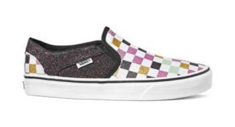 Vans Asher Womens Slip On Glitter Checkerboard Shoe | Sneakers Plus