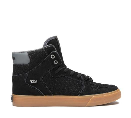 Supra Vaider Mens Skate Shoe Black-Grey-Gum | Sneakers Plus