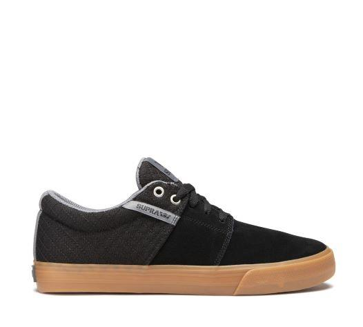 Supra Stacks Vulc ll Mens Skate Shoes Black-Grey-Gum | Sneakers Plus