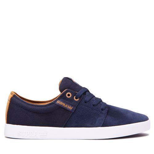 Supra Stacks II Mens Skate Shoes Navy-Tan-White | Sneakers Plus