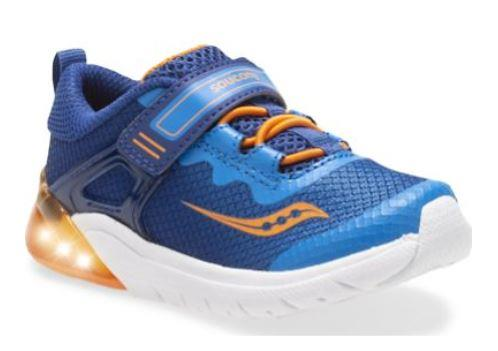 Saucony Flash Glow Toddler Running Shoe Blue-Orange | Sneakers Plus