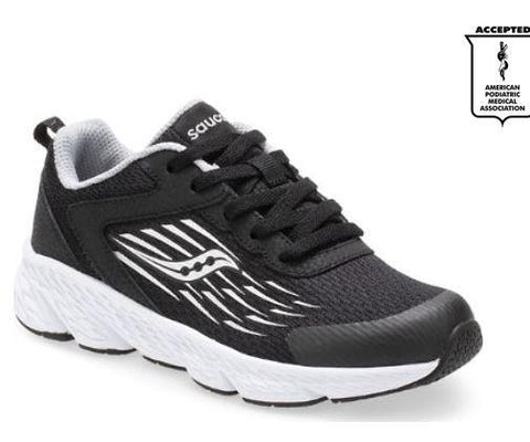Saucony Wind Boys Running Shoe Black-White | Sneakers Plus