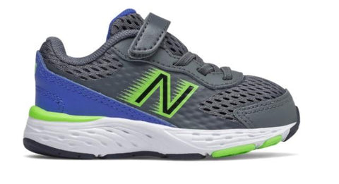 New Balance 680v6 Toddler Running Shoe Lead-Cobalt-Lime | Sneakers Plus
