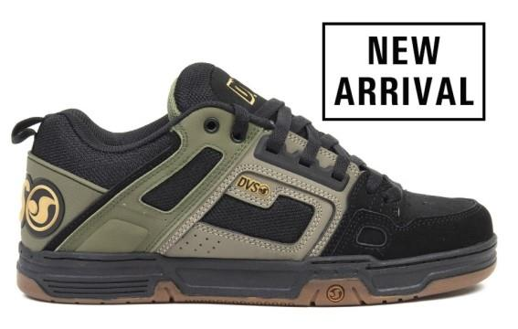 DVS Comanche Mens Skate Shoe Brindle Burnt Olive-Black Leather | Sneakers Plus