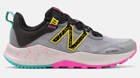 New Balance Nitrel v4 Girls Trail Shoe GunMetal-Atomic Yellow & Fusion | Sneakers Plus