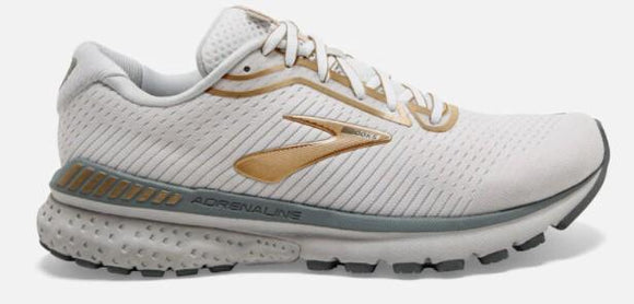 Brooks Adrenaline GTS 20 Womens Running White-Grey-Gold | Sneakers Plus