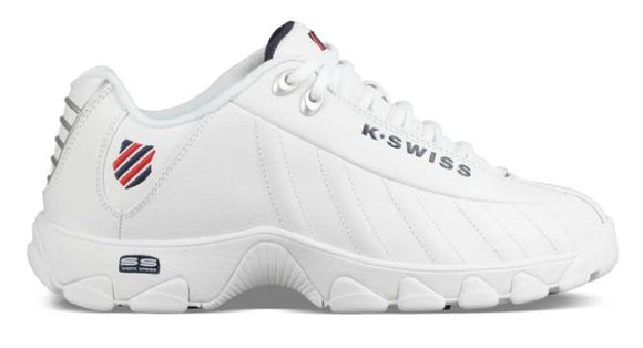 K-Swiss ST329 CMF Mens Classic Shoe White-Navy-Red | Sneakers Plus