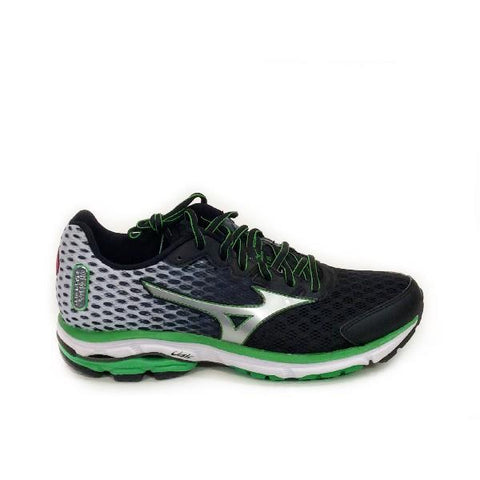Mizuno Wave Rider 18 Mens Running Shoe Black/Green |Sneakers Plus