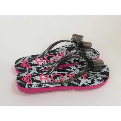 Roxy Lulu Girls Flip Flops Black/Pink |Sneakers Plus