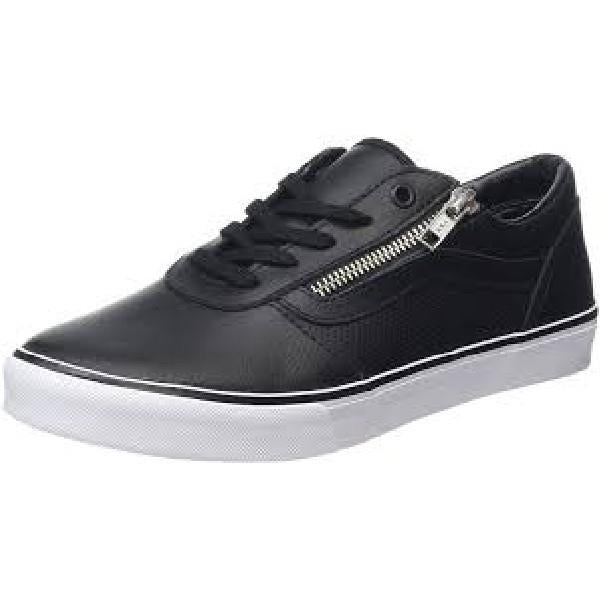 b25d06b00c Vans Milton Zip Perf Leather Black-White Womens Skate Shoe Black