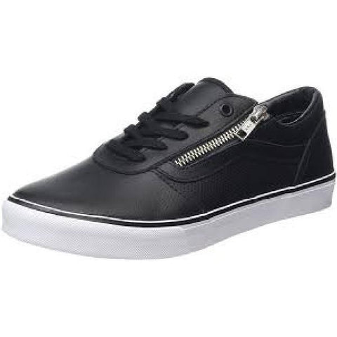 Vans Milton Zip Perf Leather Black-White Womens Skate Shoe Black |Sneakers Plus