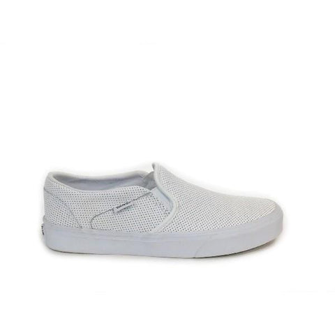 Vans Perf Leather Slip On Womens Skate Shoe White |Sneakers Plus