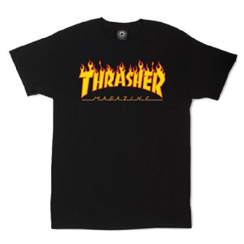 Thrasher Flame Tee Mens T-shirts Black |Sneakers Plus