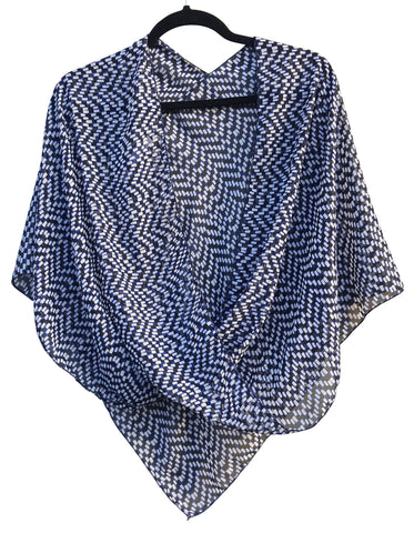 Royal Blue, Black & White Abstract Check Pattern Crossover Poncho Top