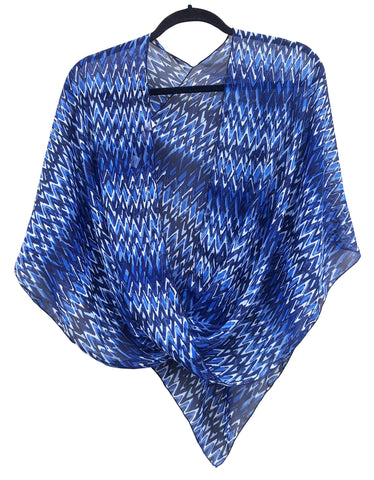 Blue, Black & White Abstract Zig-Zag Print,  Pretty Crossover Poncho Top