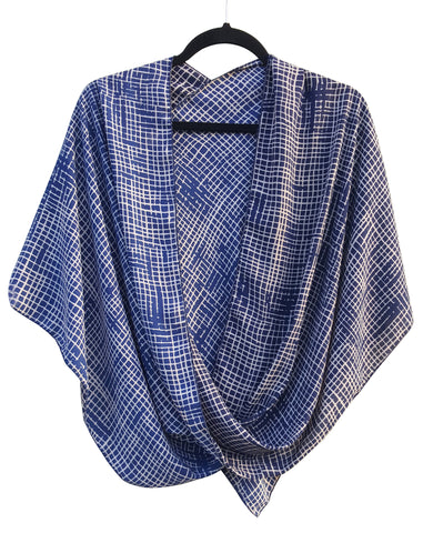 Abstract Blue & Tan Check Pattern Crossover Poncho Top