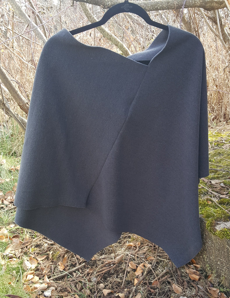 Charcoal Zipper Poncho, Wool Outside/Soft Fleece Inside