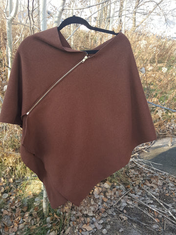 Copper Zipper Poncho, Sweater Fleece