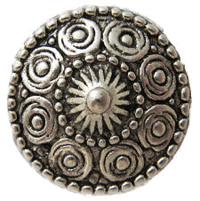 Round Flower Magnetic Pin in Silver Tone