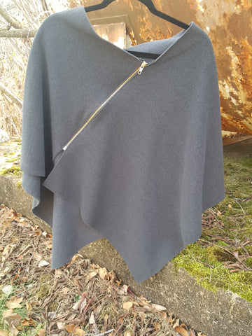 Gray Zipper Poncho, Wool Outside/Soft Fleece Inside