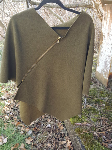 Olive Zipper Poncho, Wool Outside/Soft Fleece Inside