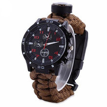 Load image into Gallery viewer, 7-in-1 Paracord Survival Chronograph Wristwatch - Survival Cat