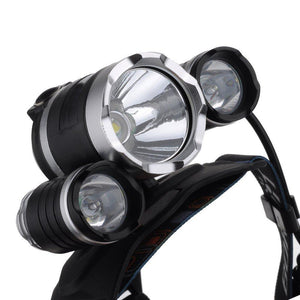 Triple Barrel 6000 Lumens 4-Mode Headlight Head Lamp - Survival Cat