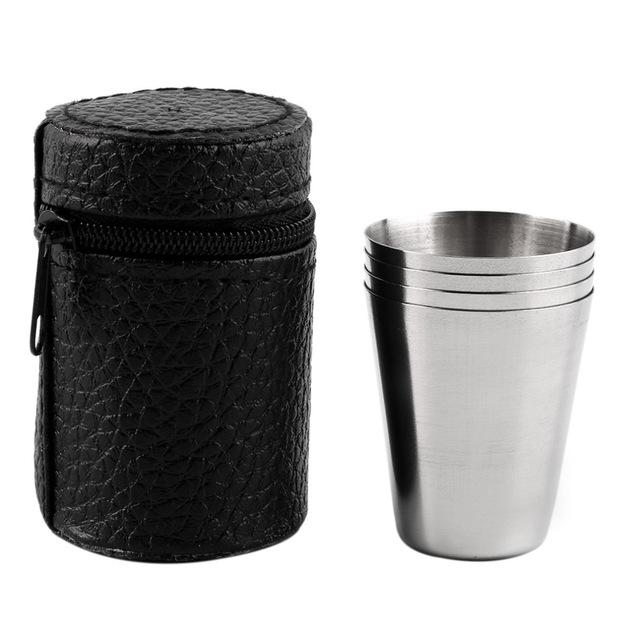 Stainless Steel Portable Outdoor Cups (Pack of 4) - Survival Cat