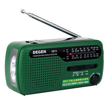 "Load image into Gallery viewer, Degen DE13 ""World Receiver"" AM/FM Emergency Solar Radio - Survival Cat"