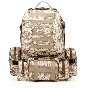SC-3M50 Large Outdoor Military Style 50L Backpack/Daypack w/ 3 MOLLE Bags - Survival Cat