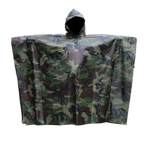 SC-RC1 Military Style Multi-Purpose Hooded Rain Poncho & Waterproof Shelter/Tent/Picnic Mat - Survival Cat