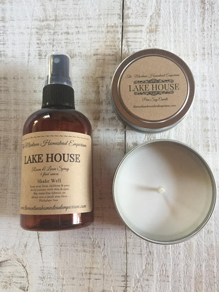 4 oz. soy candle with matching room and linen spray