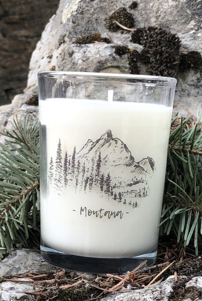 Montana candle with mountain scene