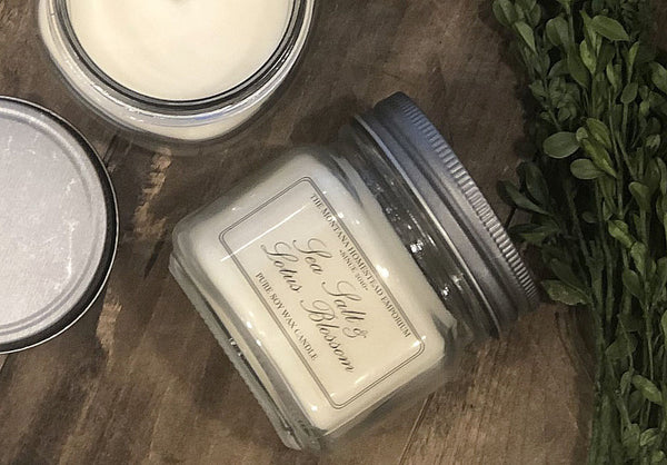 6 oz. Square mason jar soy candle with front label