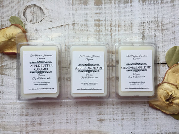 premium soy & beeswax tarts in apple fragrances